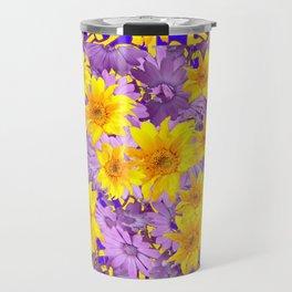 CREAM- PURPLE YELLOW FLOWERS CELTIC ART Travel Mug
