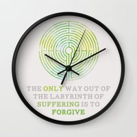 looking for alaska Wall Clocks featuring Looking For Alaska: Labyrinth by lsmyang
