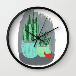 House Plants jade plant cactus snake plant Wall Clock