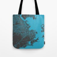 rio Tote Bags featuring Rio by Map Map Maps