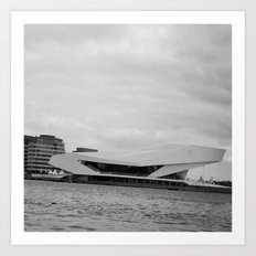 Black and white Film Museum in Amsterdam Art Print