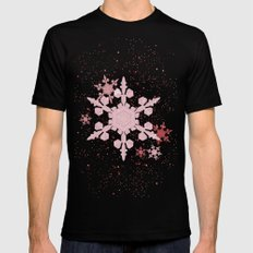 Snow Falls - Red MEDIUM Mens Fitted Tee Black