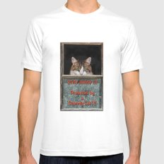 Scaredy Cat White Mens Fitted Tee MEDIUM