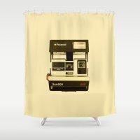 polaroid Shower Curtains featuring Polaroid Sun600 by James Viola