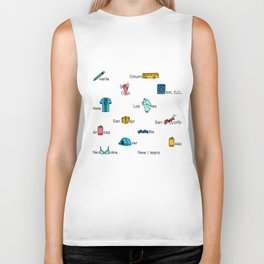 American State and City Names Biker Tank