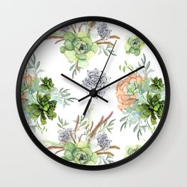 Succulents Mint Green Lavender Lilac Coral Violet Pattern Wall Clock
