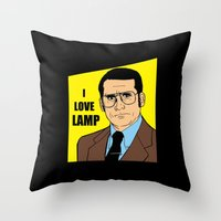 will ferrell Throw Pillows featuring I love lamp - Brick Tamland by Buby87