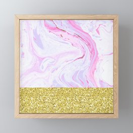 Gold Dipped Cotton Candy Marble Framed Mini Art Print