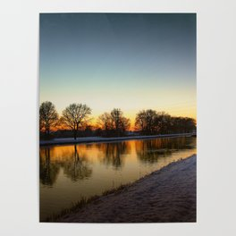 Winter sun early morning waterfront Poster