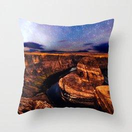 Horseshoe Bend Starseeds - Starry Sky Night at Grand Canyon Arizona Throw Pillow
