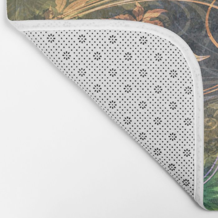 Earth Tone Floral Leaf Swirl Abstract Bath Mat