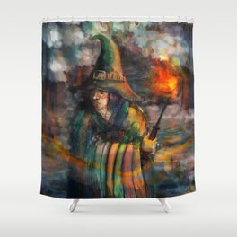 wizard in forest Shower Curtain