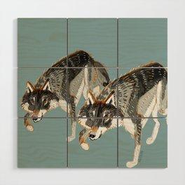 Totem Dark European Wolf Wood Wall Art