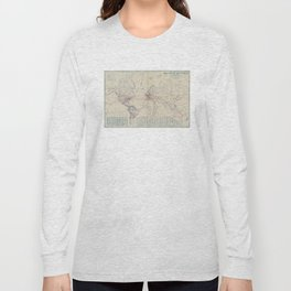 Vintage World Air Travel Map (1919) Long Sleeve T-shirt