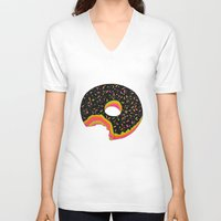 donut V-neck T-shirts featuring Donut by Luna Portnoi