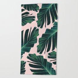 Tropical Blush Banana Leaves Dream #1 #decor #art #society6 Beach Towel