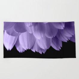 Ultra violet purple flower petals black Beach Towel