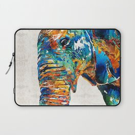 Colorful Elephant Art by Sharon Cummings Laptop Sleeve