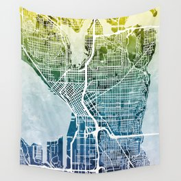 Seattle Washington Street Map Wall Tapestry