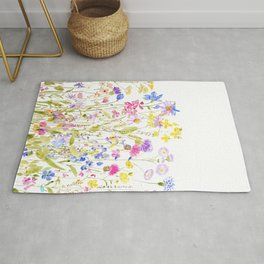 colorful meadow painting Rug