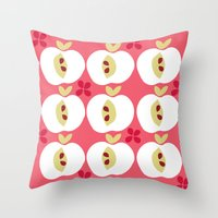 apple Throw Pillows featuring apple by ottomanbrim