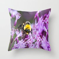 bee Throw Pillows featuring Bee by Dora Birgis