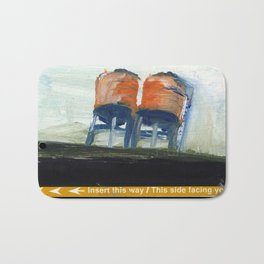 NYC Water Towers Painted on subway fare card Bath Mat