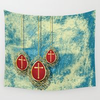 pagan Wall Tapestries featuring Beautiful Gold Crosses on a pale blue and yellow textured background by Wendy Townrow