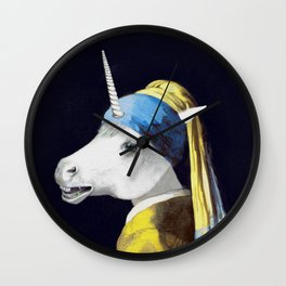 Unicorn with a Pearl Earring Wall Clock
