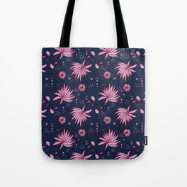 Orchid and navy floral Tote Bag