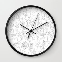 flowers drawing Wall Clock