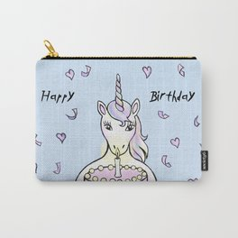 Happy Birthday Unicorn (blue) Carry-All Pouch