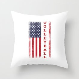 Volleyball Team Ball Game Spiking Action Sports Gift Volleyball USA Flag Throw Pillow