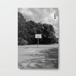 Shoot hoops - Amersfoort The Netherlands photo | Basketball hoop black and white noir monochrome dramatic street photography art print Metal Print