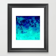 Mermaid paradise | blue ombre turquoise watercolor Framed Art Print