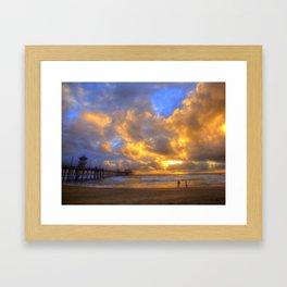 El Niño Sunset Huntington Beach Pier Framed Art Print