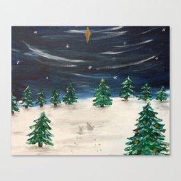 Christmas Snowy Winter Landscape Canvas Print