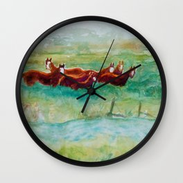 Wild Horse Band by Creek watercolor by CheyAnne Sexton Wall Clock