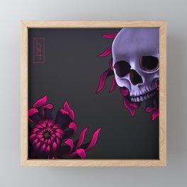 Skull & Chrysanthemum Framed Mini Art Print