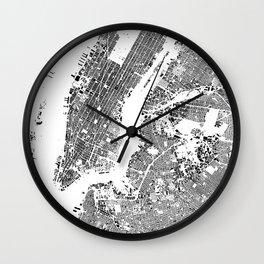 New York Map Schwarzplan Only Buildings Wall Clock