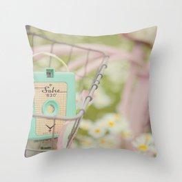 Bike ride through the daisys... Throw Pillow