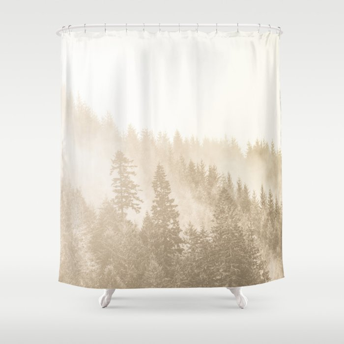 Vintage Sepia Fir Trees Shower Curtain By Cascadia