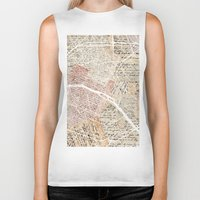paris map Biker Tanks featuring PARIS by Mapsland
