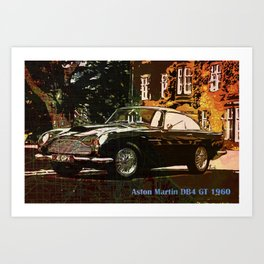 Aston Martin DB4 GT 1960 Vintage Classic Car On New Orleans Colorful Map  Art Print