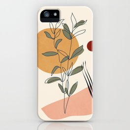 Minimal Line Young Leaves iPhone Case