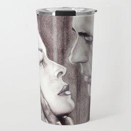 Charcoal Pencil Drawing of Bogey & Bacall, Dark Passage, Film Noir Travel Mug