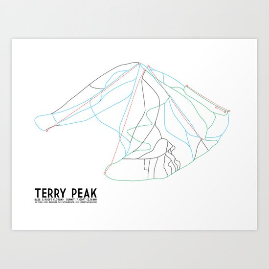Terry Peak, SD - Minimalist Trail Art Art Print