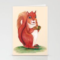 squirrel Stationery Cards featuring Squirrel by Yana Elkassova