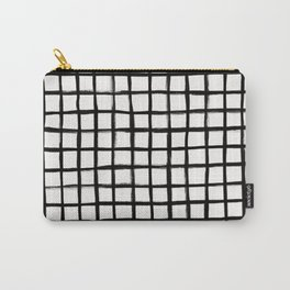 Form Brush Grid Black on White Carry-All Pouch