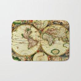 Ancient World Map 1689 Bath Mat
